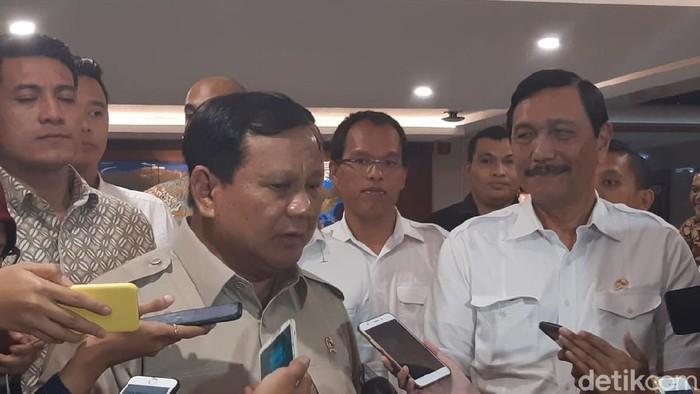 Menhan Prabowo Subianto bertemu Menko Maritim Luhut Binsar Pandjaitan