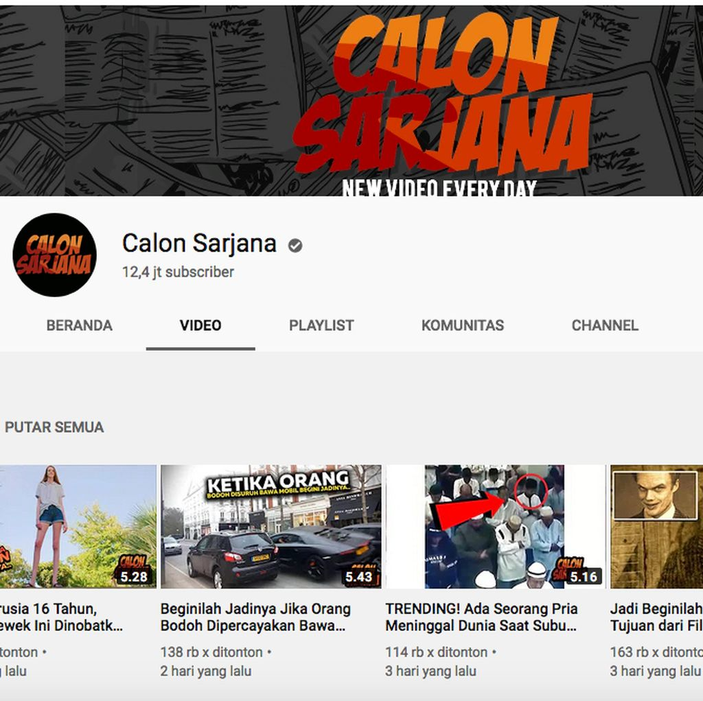 Heboh Channel YouTube Calon Sarjana Tiba-tiba Menghilang