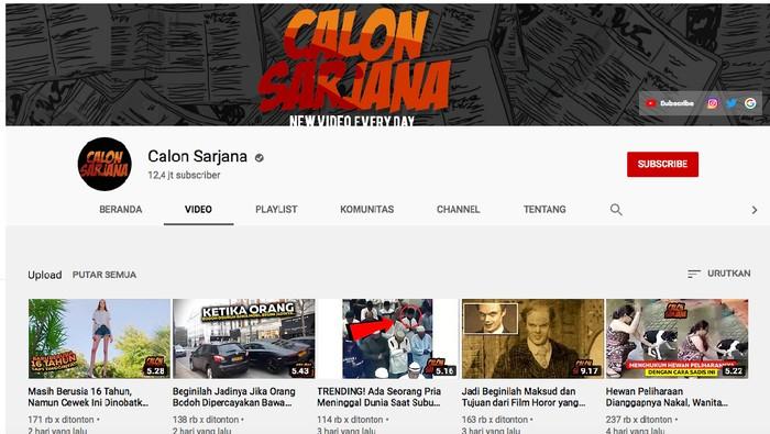 Akun Youtube Calon Sarjana yang diduga plagiasi konten (Youtube)