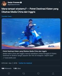 Di akun Twitter-nya, Ganjar Pranowo posting tautan berita tentang Umbul Ponggok yang dapat pujian dari media asing. (Foto: screenshot Twitter Ganjar Pranowo)