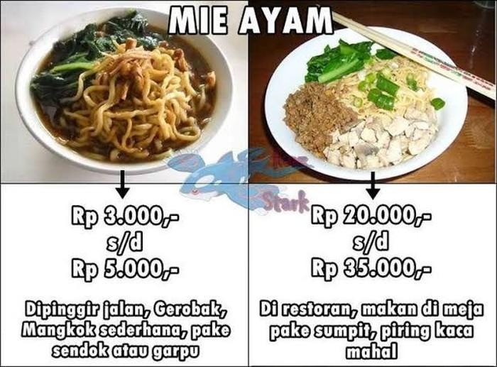 Sama-sama mie ayam, tapi kalau sudah disajikan di tempat berbeda, harganya juga jadi beda. Gimana nih menurutmu? Foto: Istimewa