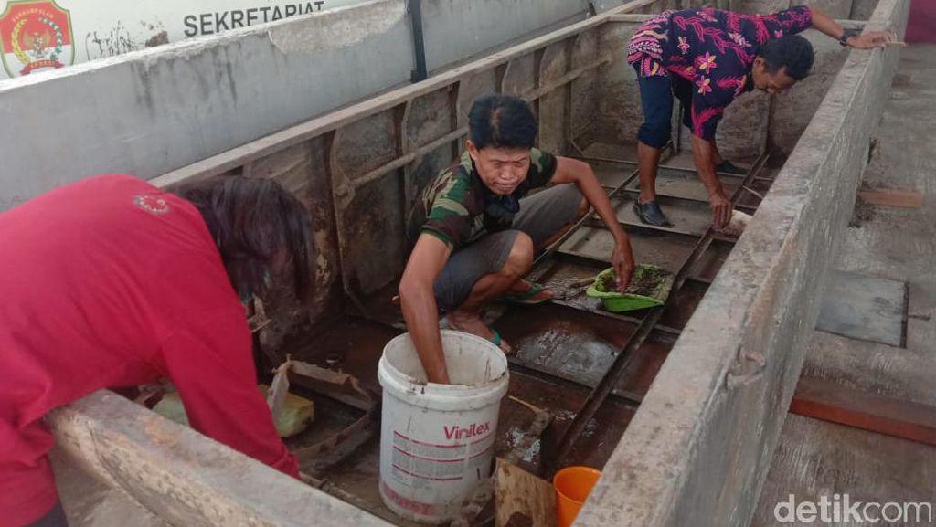 Karat pada Perahu Baja di Lamongan Dibersihkan Pakai Jeruk Nipis