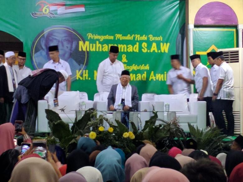 Hadiri Peringatan Maulid Nabi di Banten, Maruf Amin Disambut Selawat