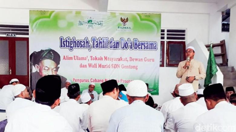 Ratusan Wali Murid Gelar Istigasah untuk Para Korban SDN Gentong yang Ambruk