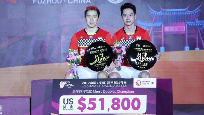 Kevin Sanjaya Sukamuljo dan Marcus Fernaldi Gideon  juara Fuzhou China Open 2019. (Dok. Humas PBSI)