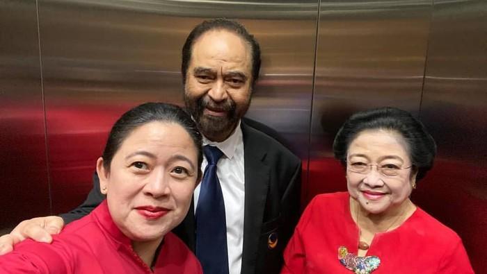 Ketua DPR Puan Maharani berfoto bareng Ketum PDIP Megawati Soekarnoputri dan Ketum NasDem Surya Paloh (Dok Instagram @puanmaharaniri)