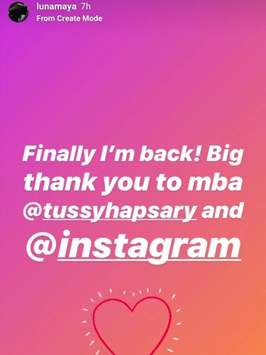 Yeaay... Akun Instagram Luna Maya Sudah Kembali Normal