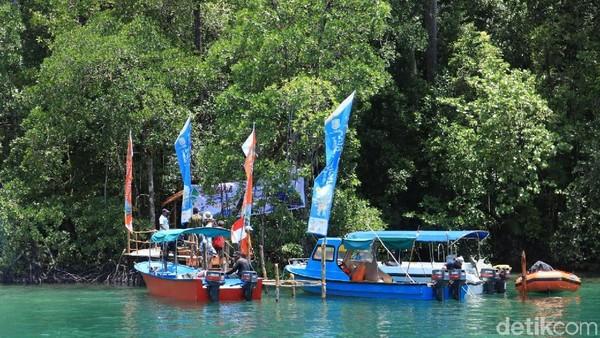 Berjarak sekitar 1,5 jam perjalanan laut via speedboat dari Dermaga Waisai, terdapat destinasi baru bernama Kolam Ajelly. Keberadaannya masih tergolong baru ketimbang destinasi lain yang sudah lebih dulu populer seperti Kalibiru (Randy/detikcom)