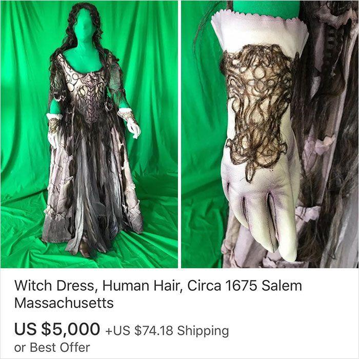 Baju penyihir yang dihias dengan rambut asli manusia. Dijual US$ 5.000 belum ongkir kalau Anda berminat. Istimewa/Dok. Boredpanda.