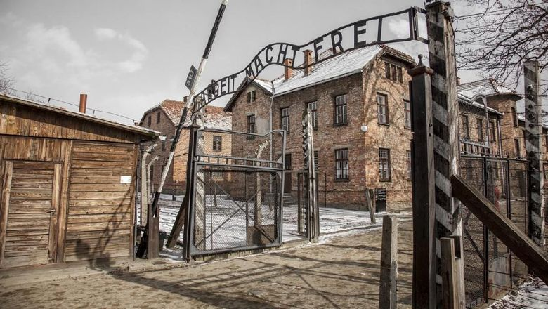 The picture of the  main gate to concentration camp-  in Oswieciem, Poland.