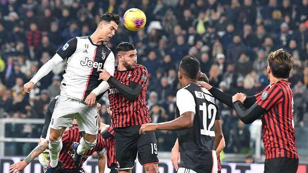 Cristiano Ronaldo gagal mencetak gol pada laga lawan AC Milan.