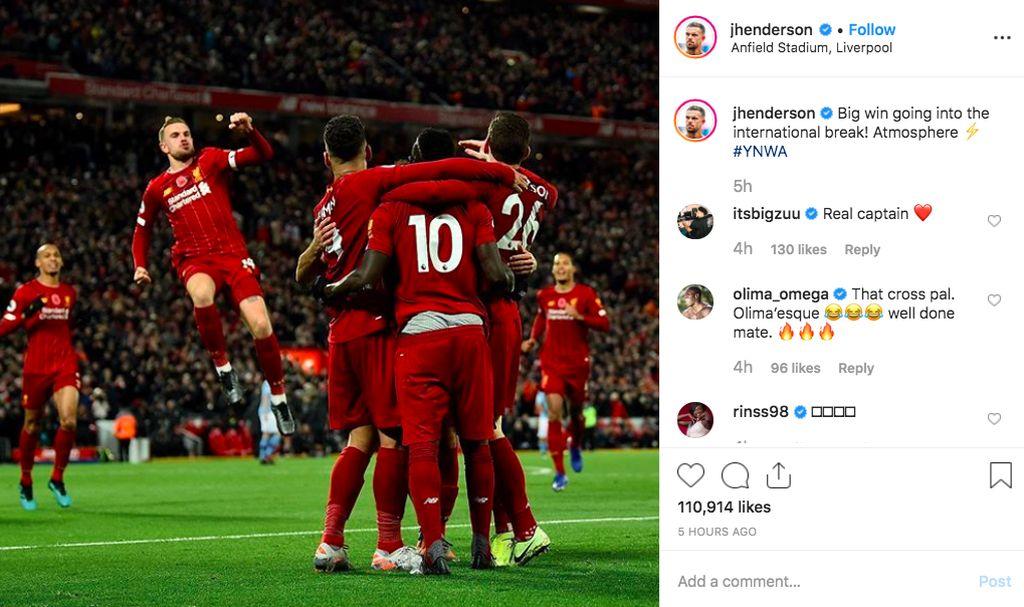 Jordan Henderson: Kemenangan besar sebelum break internasional. Foto: Instagram