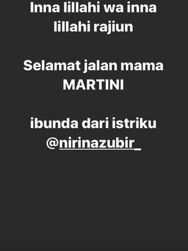 Ibunda Nirina Zubir Meninggal Dunia