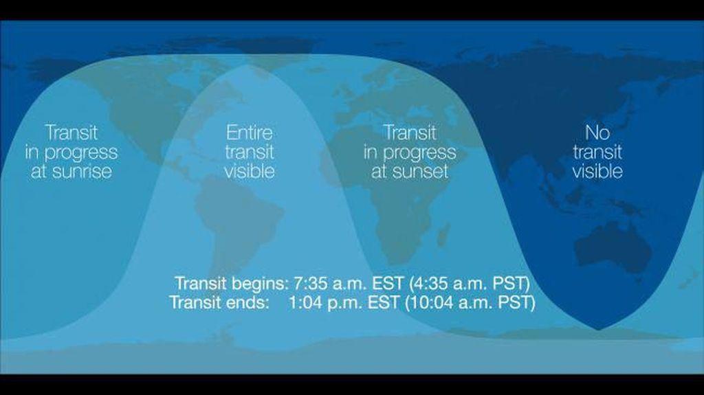 Hanya sebagian belahan Bumi yang bisa menyaksikan transit Merkurius dari sudut pandang Bumi ini. Wilayah Asia Pasifik, termasuk Indonesia, tidak kebagian. Foto: NASA