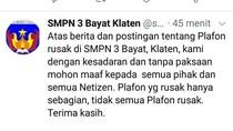 Guru SMPN di Klaten Minta Maaf Usai Posting Plafon Kelas Rusak