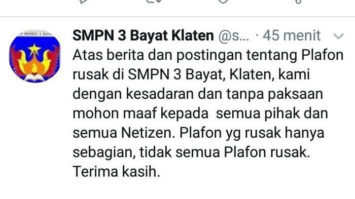 Tangkapan layar akun Twitter SMPN 3 Bayat, Klaten, Selasa (12/11/2019)
