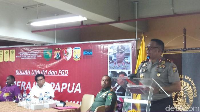 Kapolda Papua Irjen Paulus Waterpauw dalam Kuliah Umum dan FGD Merajut Papua Dalam Bingkai NKRI  (Foto: Farih Maulana Sidik/detikcom)