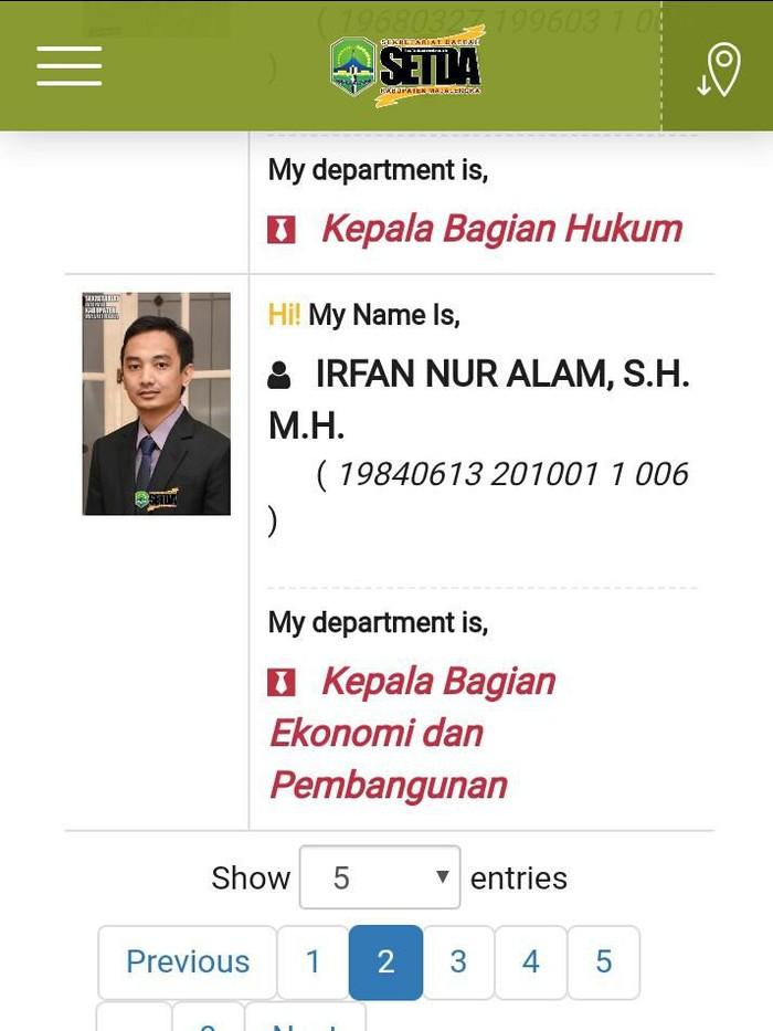 Profil Irfan Nur Alam. (Foto: Tangkapan layar setda.majalengkakab.go.id)
