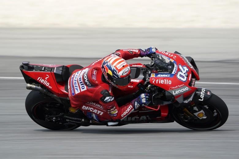 Motor Ducati di MotoGP yang ditunggangi Andrea Dovizioso. Foto: AP Photo/Vincent Thian