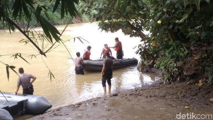 Personel gabungan TNI-Polri menyisir Sungai Belawan, Medan Sunggal, Medan, Sumut, terkait pembuangan bangkai babi. (Datuk Haris Molana/detikcom)
