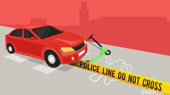 Ilustrasi Kecelakaan Skuter Listrik (Luthfy Syahban/detikcom)