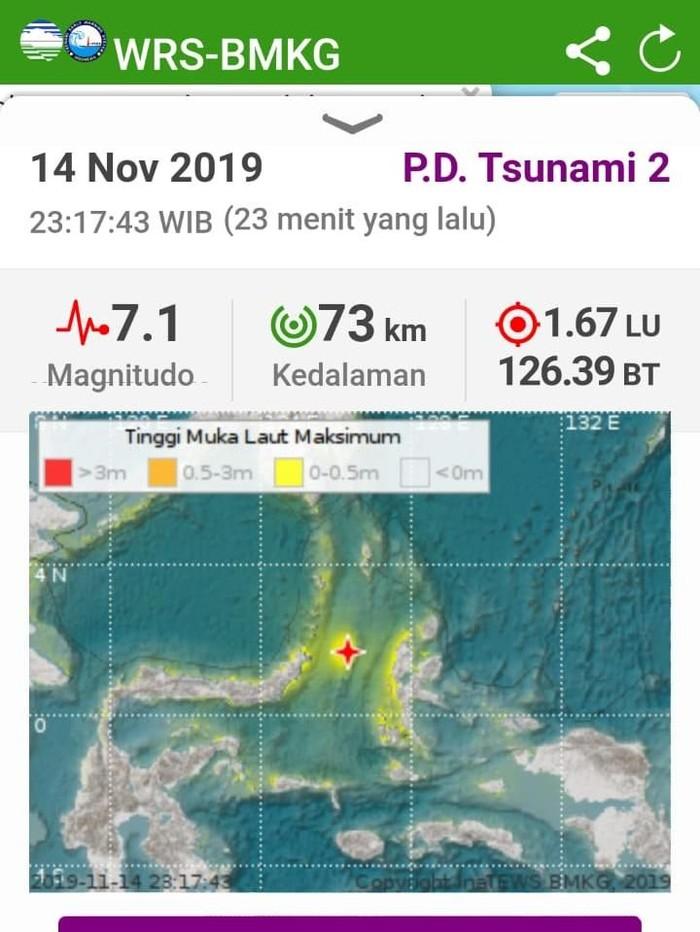 Gempa M 7,1 di Malut (Dok. BMKG)