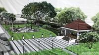 Nantinya kolam renang ini berdampingan dengan taman yang juga tengah dalam penataan. Di taman tersebut akan terdapat plaza dan panggung untuk menjamu tamu.