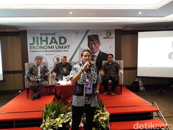 Sandiaga Uno di Seminar Jihad Ekonomi Umat. (Foto: Pradito R Pertana/detikcom)
