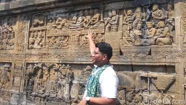 Fakta kelima, Candi Borobudur yang berukuran 123 meter x 123 meter dengan tinggi asli 42 meter, memiliki 2.672 pahatan relief, di mana 1.460 relief bercerita tentang kehidupan. Cerita itu dibagi dalam tiga bagian. Eko Susanto/detikcom