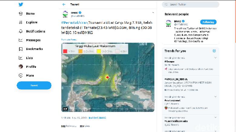 BMKG: Tsunami Terdeteksi di Ternate dan Bitung
