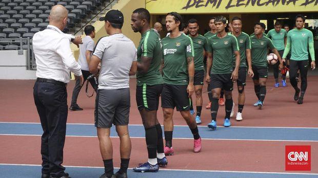 Timnas Indonesia saat menjalani latihan terakhir di Stadion Bukit Jalil pada Senin siang.