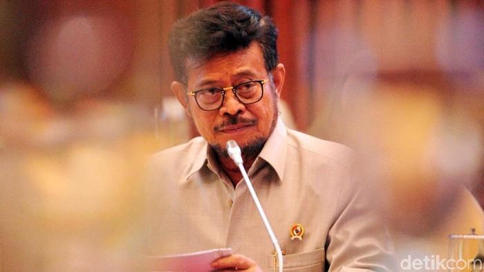 Menteri Pertanian (Mentan) Syahrul Yasin Limpo melakukan rapat kerja (raker) dengan Komisi IV DPR-RI di Komplek Parlemen, Senayan, Jakarta, Senin (18/11/2019).
