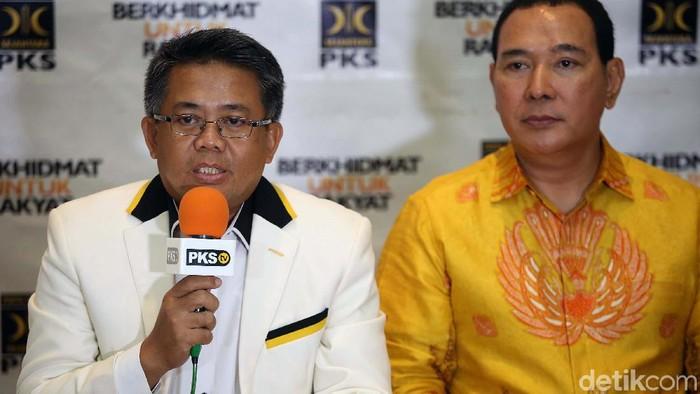 Presiden PKS Sohibul Iman dan Ketum Partai Berkarya Tommy Soeharto (Agung Pambudhy/detikcom)