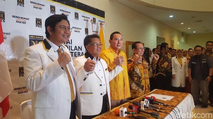 PKS dan Partai Berkarya menggelar konferensi pers bersama seusai pertemuan. (Zunita/detikcom)