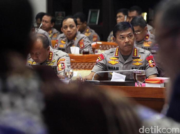 Rapat Pertama Kapolri Jenderal Idham Azis dengan DPR. (Lamhot Aritonang/detikcom)