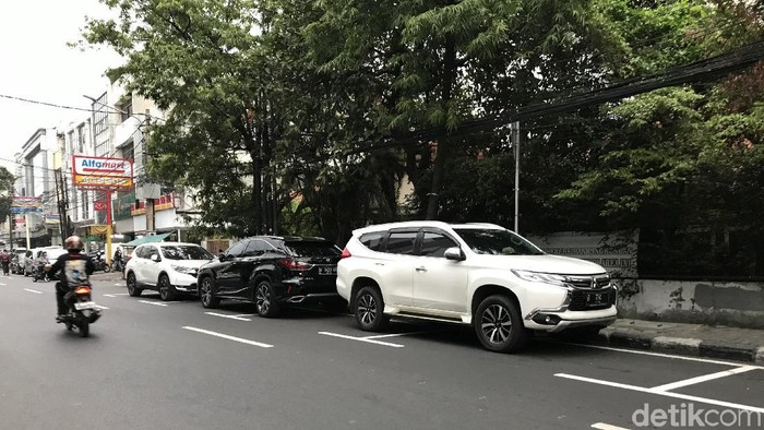 Marka lahan parkir di Jalan Juanda, Jakpus. (Rolando/detikcom)