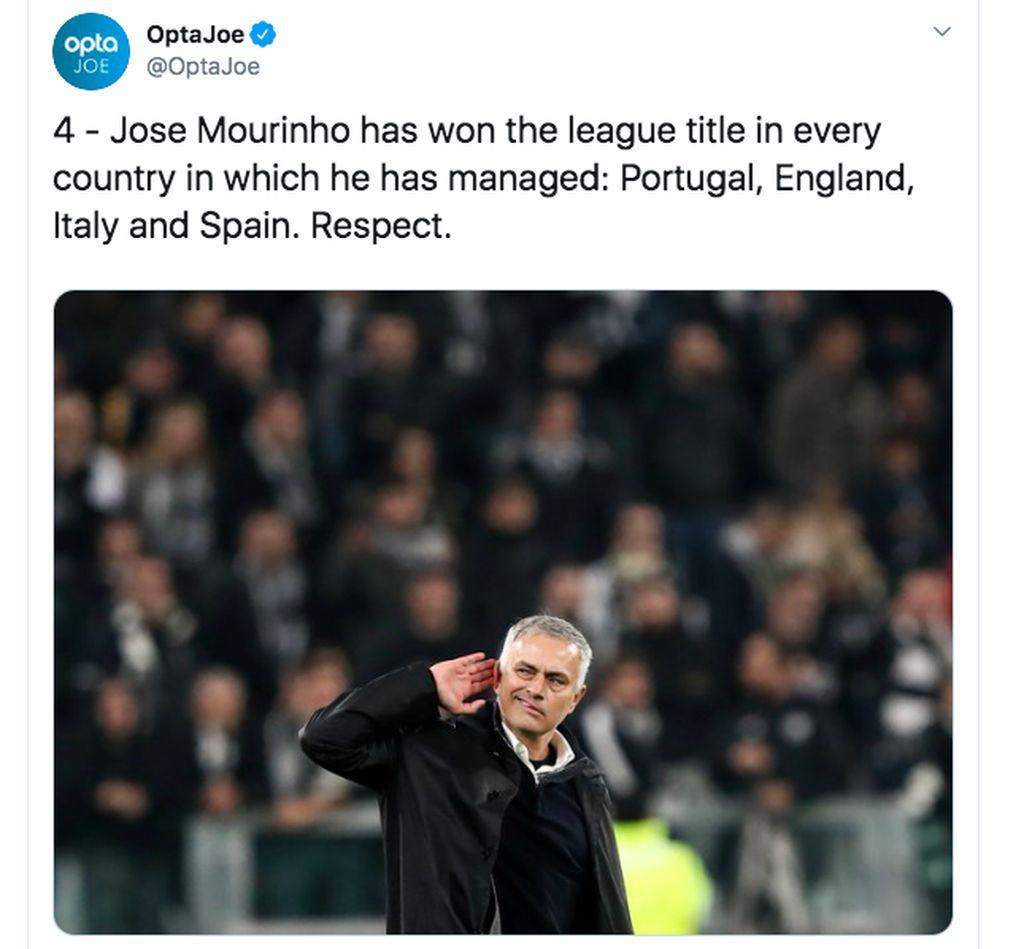 Nama Jose Mourinho pun langsung banyak dibicarakan di media sosial. Banyak yang mendukungnya lantaran rekam jejaknya memenangkan liga Portugal, Inggris, Italia dan Spanyol. Foto: Twitter