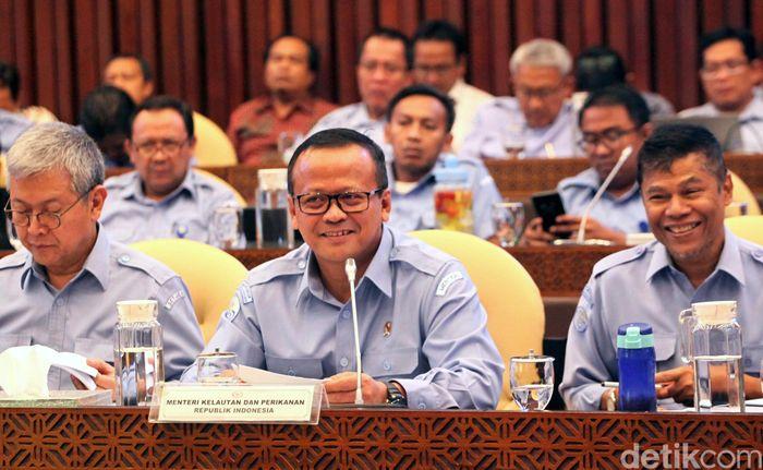 Menteri KKP Edhy Prabowo menghadiri rapat kerja bersama Komisi IV DPR RI di Kompleks Parlemen, Jakarta, Rabu (20/11/2019).