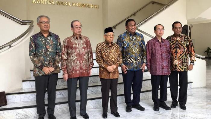Eks PM Jepang bertemu dengan Wapres Maruf Amin (Muhammad Fida Ul Haq/detikcom)