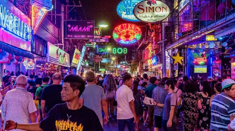 Pattaya: This is Walking Street a famous red light district where many tourists come at night to visit clubs and bars on August 07, 2017 in Pattaya
