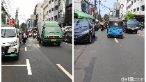 Before-After Penghapusan Marka Parkir yang Serobot Jalan di Jakpus