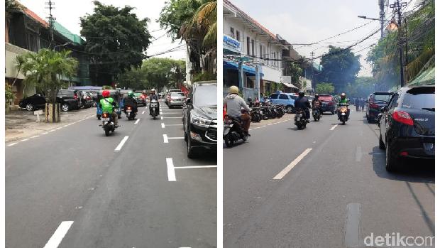 Before After Marka Parkir Serobot Jalan Dihapus (Rolando & Alfons/detikcom)