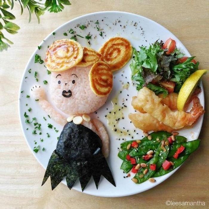 Bentuk karakter tersebut dibuat dari berbagai bahan makanan mulai dari nasi, telur, sayuran, hingga saus. Foto: Lee Samantha