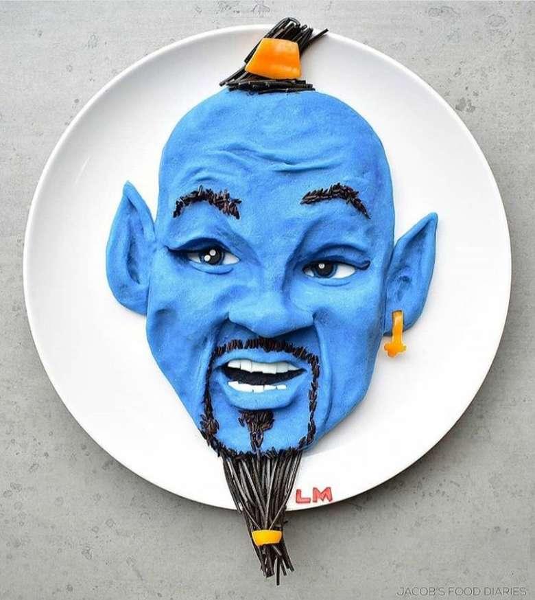 Karakter terkenal dari film Disney Aladdin yaitu jin yang dapat mengabulkan 3 permintaan ini adalah hidangan mashed potato lho! Bisa berwarna biru dicampurkan pewarna yang aman saat disantap. Foto: Instagram @jacobs_food_diaries