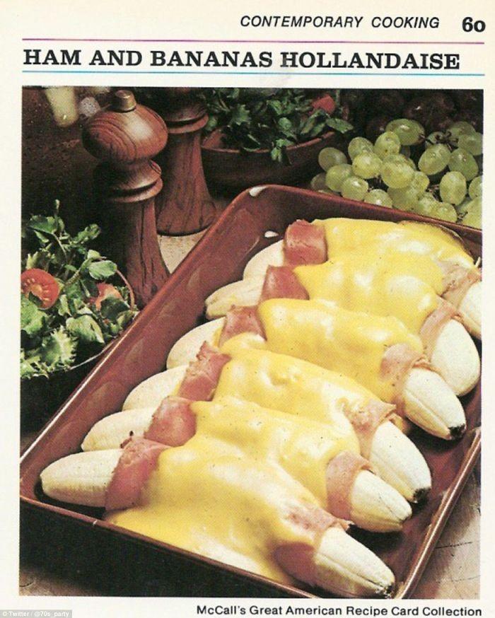 Sekitar tahun 1970an pernah muncul resep ham berpadu pisang mentah. Tak hanya itu, gulungan ham pada pisang juga disirami saus Hollandaise yang gurih creamy. Foto: Istimewa