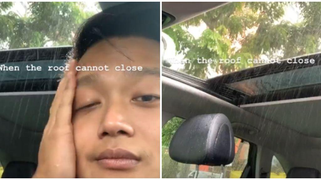 Kasihan, Pengendara Kehujanan Gara-gara Sunroof Mobil Macet!
