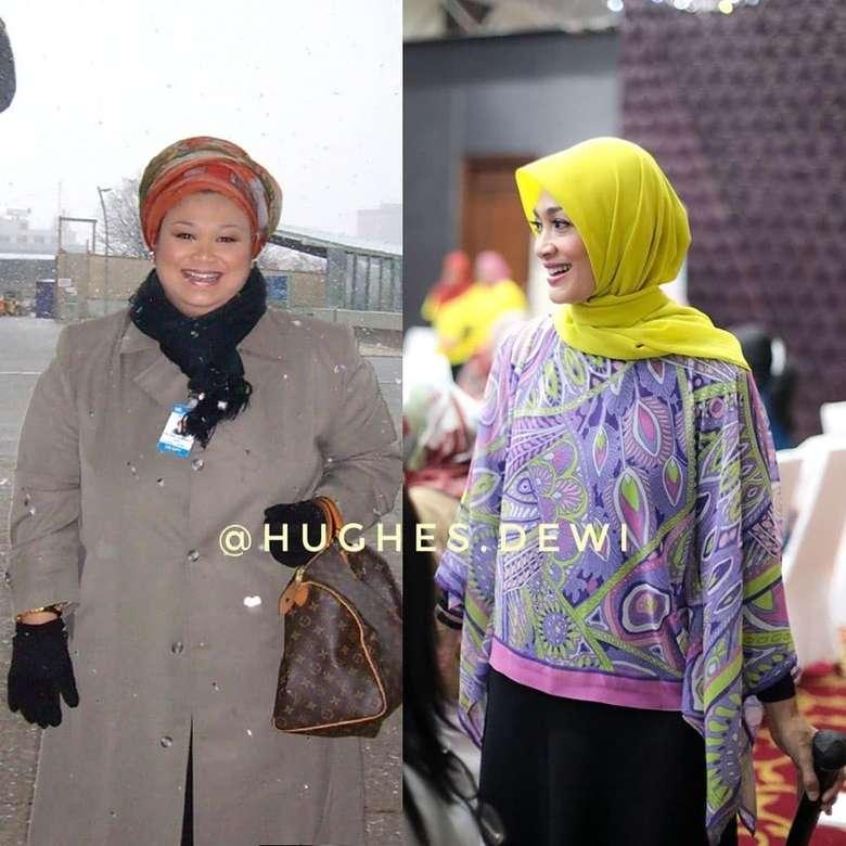 Dewi Hughes mengejutkan khalayak dengan perubahan bentuk tubuhnya. Sebelumnya, Dewi diketahui memiliki berat badan mencapai 150 kilogram, kini berat badannya hanya 59 kilogram. (Foto: Instagram/@hughes.dewi)