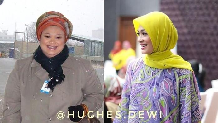 Dewi Hughes dulu dan sekarang. Foto: Instagram/@hughes.dewi)