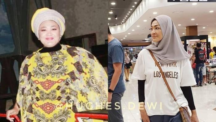 Dewi Hughes dulu dan sekarang. (Foto: Instagram)