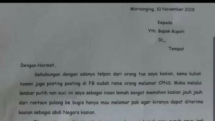 Foto: Surat yang dikirim pelamar CPNS Ke Bupati di Enrekang, Sulsel (Dok screenshoot)